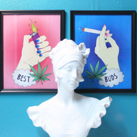 Best Buds Framed Art Prints - Tabletop / Wall Decor Home Decor, Besties Best Friends BFF, Marijuana Pot Smoke Toke Weed Ganja