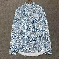 Dior printed letters long-sleeved shirt-1