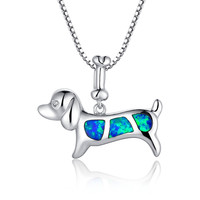 Sterling Silver Dog and Bone W. Blue and Green Fire Opal Pendant Necklace