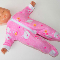 """Bitty Baby Girl Clothes 15"""" Doll Clothes Pink Kitty Cat Heart Flower Flannel Zip Up Feetie Pajamas Pjs Sleeper"""