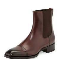 Handmade Men's brown Chelsea leather boot, Handcrafted brown formal ankle boot