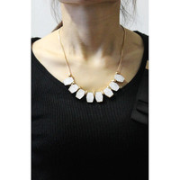 Beautiful Gold-tone White Cube Funky Statement Necklace