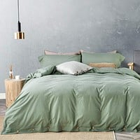 "JELLYMONI Green 100% Washed Cotton Duvet Cover Set, 3 Pieces Luxury Soft Bedding Set with Buttons Closure. Solid Color Pattern Duvet Cover King Size(No Comforter) King(104""×90"")"