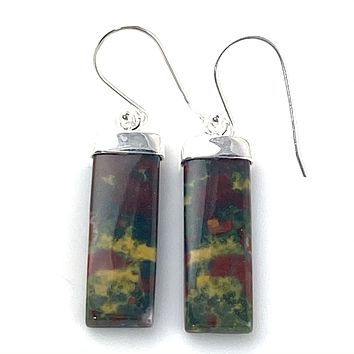 Bloodstone Sterling Silver Rectangular Earrings