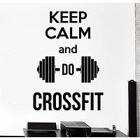 Wall Sticker Crossfit Quote Barbell Dumbell Keep Calm Vinyl Decal Unique Gift (z2986)