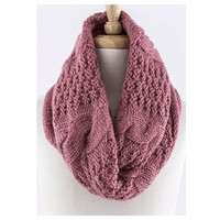 Cozy Warm Vertical Knit Dusty Rose Infinity Scarf, Loop