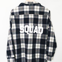 Squad Flannel - Creme/Navy