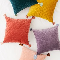 Quilted Velvet Tassel Throw Pillow | Urban Outfitters