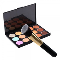 15-Color Face Cream Concealer Cosmetic Palette & Angled Makeup Brush Set