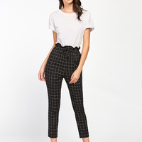 Frilled Waist Grid Pants -SheIn(Sheinside)