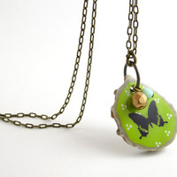Green Nature Pendant - Butterfly Shabby Chic Spring Necklace - Woodland Boho Jewelry
