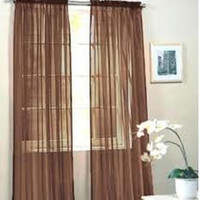 "Kate Elegance Set of 2 Sheer Curtain Panels 60"" Wide x 84"" Long - Coffee"