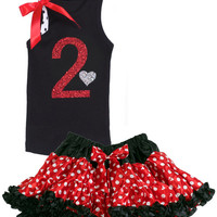 Girls 2nd Birthday Outfit, Red and Black Polka Dot, 2nd Birthday Party, Girls 2nd Birthday Outfit, Birthday Girl Tutu, Personalized Shirt