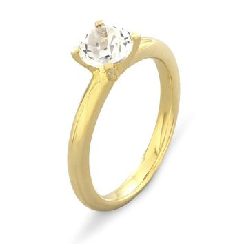 14k Gold over Sterling Silver Genuine White Topaz Round Solitaire Ring