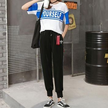 """Adidas"" Women Casual Fashion Multicolor Letter Print Short Sleeve T-shirt Trousers Set Two-Piece Sportswear"
