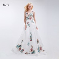 Finove Floral Appliques Prom Dresses 2017 New Arrivals A-Line Floor-Length Long Dresses for Formal Women's White Dresses