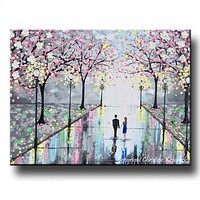 GICLEE PRINT Art Abstract Painting Couple Pink Cherry Trees Blossoms Romantic Canvas Prints Grey
