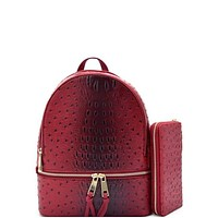 Women's Ostrich Vegan Leather Backpack and Wallet