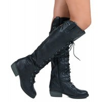 Qupid Prim-06 Vegan Knee High Lace Up Military Boots BLACK