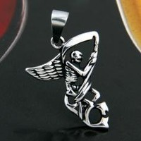 Retro Skeleton Wing 316L Stainless Steel Pendant Bead 1.2x1""
