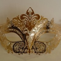 Venetian Gold Mask w/ Metal Laser-cut and Crystals on Eyes