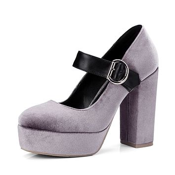 Mary Jane Shoes Super High Heelss Platform Chunky Pumps Shoes Woman