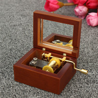 Vintage Square Hand Crank Wooden Music Box Harry Potter Hedwigs Theme Home Decor