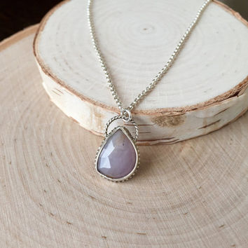 Stunning, Pale Pink-Lavender Sapphire, Rose-Cut Gemstone in .925 Sterling Silver with Light Patina, Open Bezel Pendant, Free-Form Shape Gem
