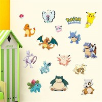 Fashion Cartoon Wall Stickers  Pikachu Bulbasaur Pattern Vinyl Decal For Baby Kids' Room Mural Art Wall Decoration PosterKawaii Pokemon go  AT_89_9