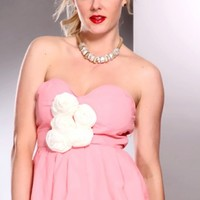 Pink White Sweetheart Neckline Flower Accents Stylish Dress @ Amiclubwear sexy dresses,sexy dress,prom dress,summer dress,spring dress,prom gowns,teens dresses,sexy party wear,women's cocktail dresses,ball dresses,sun dresses,trendy dresses,sweater dresse