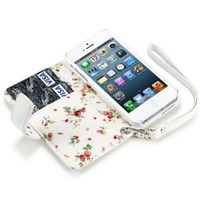 IPHONE 5 PREMIUM PU LEATHER WALLET CASE WITH FLORAL INTERIOR - WHITE: Cell Phones & Accessories