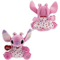 """Licensed cool 14"""" PINK ANGEL Valentines Red Hearts Plush Toy Doll Lilo & Stitch Disney Store"""