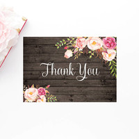 Rustic Watercolor Floral Thank You Card, Printable Thank You Card, Boho Thank You Card, Printable Bohemian Wedding Thank You Note