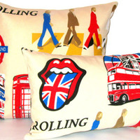 Funky beatles – Retro red London18x18 pillow cover