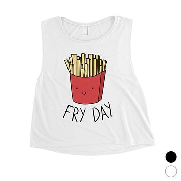 365 Printing Fry Day Womens Cute Workout Tank Top French Fries Crop Tank Top