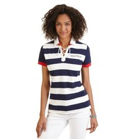 Lace-Up Rugby Stripe Polo Shirt - Nautica