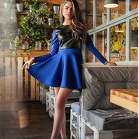woman dresses autumn 2016 women casual long sleeve office sexy bodycon leather stitching dress plus size women clothing vestidos
