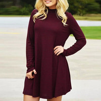 Burgundy High Neck Stretch Knit Trapeze Dress