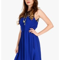 Blue Mesh With Me Sleeveless Mesh Top Dress | $11.50 | Cheap Trendy Club and Party Dresses Chic Disc