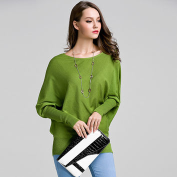 Knit Tops Batwing Sleeve Korean Pullover Long Sleeve Sweater [9010375110]