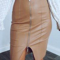 Forever Busy Skirt: Tan