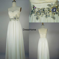 Prom Dress - Long prom Dress With beadings / White Prom Dress / Strapless Prom Gown / Long Party Dress / White Evening Dress