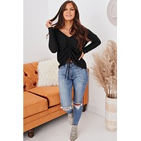 Forward Thinking Ruched Front Waffle Knit Top (Black)