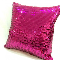 Luxury Sparkling Fuchsia Sequins Pillow Cover. 16inch Bling Cushion
