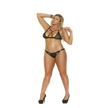Plus Size Leather Trimmed Fishnet Bra Set