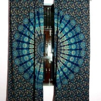 blue peacock mandala drapes indian cotton curtains window hanging