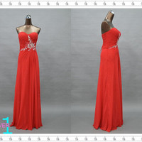 Red Evening/Prom Dress, Sweetheart Beaded Chiffon Dress, Long Sexy Chiffon Dress, Red Chiffon Dress, Red Beaded Dress, Lace Up Evening Dress