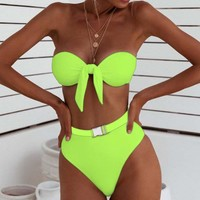 Sexy Neon Bikini Bathers V-Neck Swimwear Women Bathing Suit Push Up Thong Swimsuit Female Bath High Cut Bathers