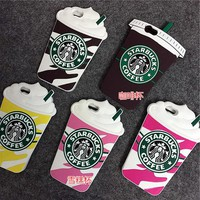 3D Cartoon Silicon Starbuck Coffee Cup Phone Cases For iPhone 4 4S 5 5S SE 6 6S 7 For Samsung Galaxy S3 S4 S5 S6 S7 Edge Plus