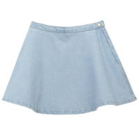 ROMWE | A-line Riveted Zippered Light Denim Skirt, The Latest Street Fashion